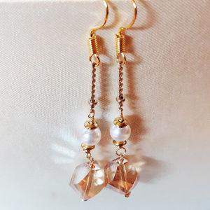 NEW! Elegant Crystal + Pearl Drop Earrings